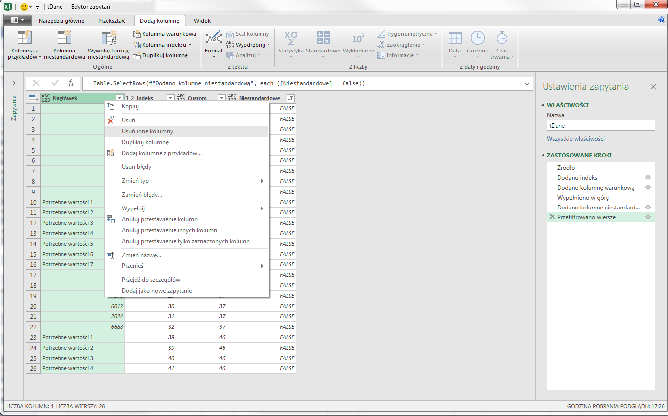 PQ 12 - Jak usuwać grupy wierszy, który kończy konkretny tekst - kolumny indeksów 07
