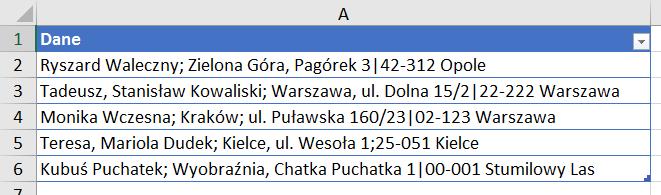 Power Query 15 - Podział tekstu ciągiem kolejnych ograniczników (separatorów) - 01