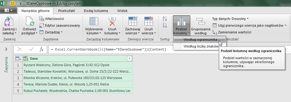 Power Query 15 - Podział tekstu ciągiem kolejnych ograniczników (separatorów) - 02