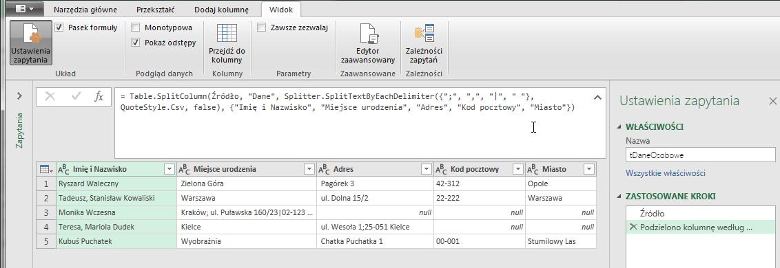 Power Query 15 - Podział tekstu ciągiem kolejnych ograniczników (separatorów) - 05