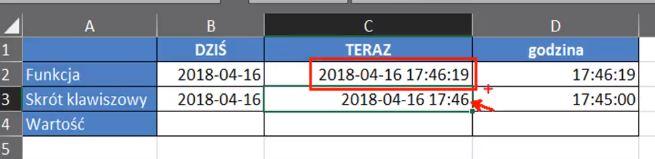 Rys. nr 12 - Różnica między funkcją TERAZ a skrótem Ctrl+Shift+;