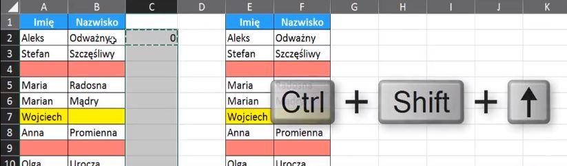 Rys. nr 7 - Działanie skrótu klawiszowego Ctrl + Shift + ↑