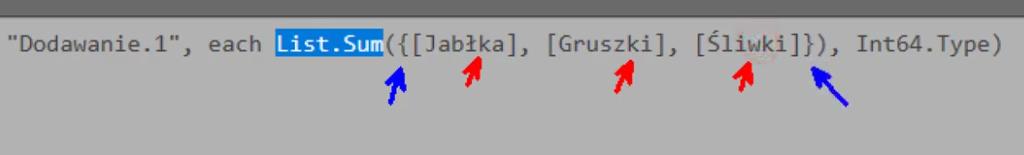 rys. nr 13 - dodatkowe nawiasy klamrowe w zapisie funkcji List.Sum