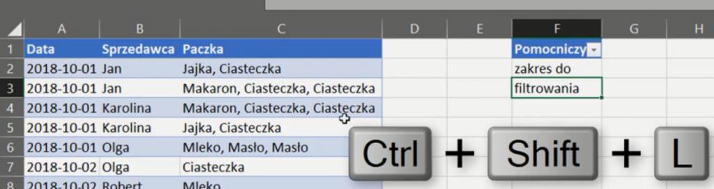 rys. nr 15 - nakładanie filtru za pomocą skrótu klawiszowego Ctrl+Shift+L