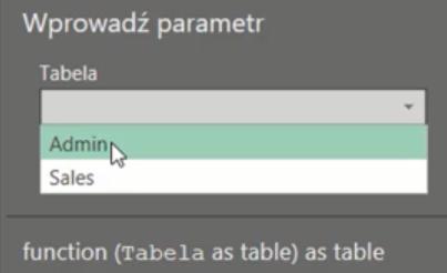 rys. nr 19 - odwołanie do tabeli w polu Wprowadź parametry