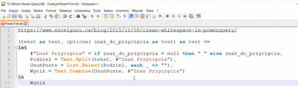 rys. nr 4 - kolorowy kod M w notepadzie ++