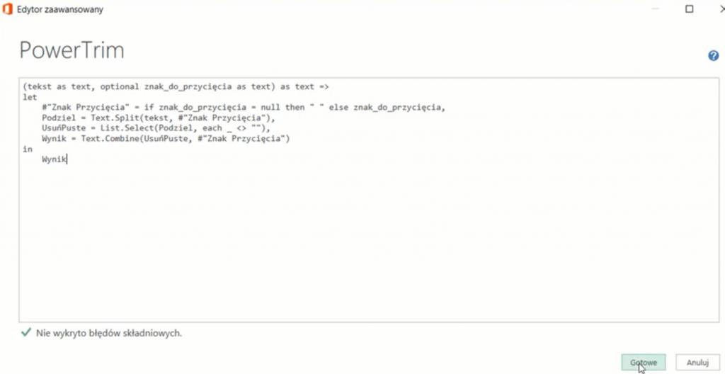 rys. nr 8 - Kolorowy kod skopiowany do Edytora zaawansowanego staje się czarno-biały