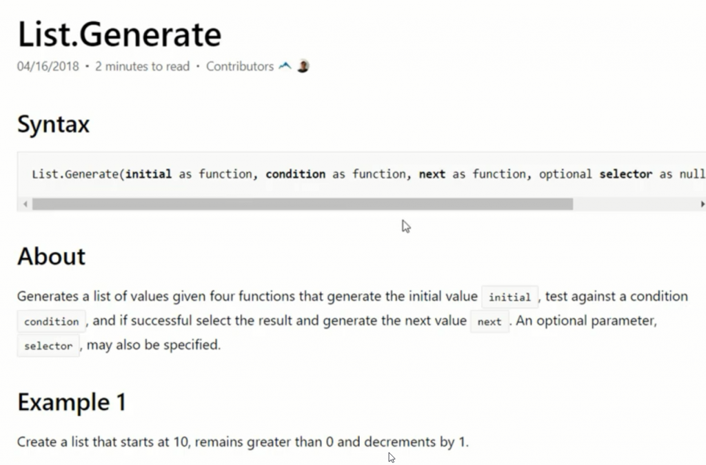 rys. nr 11 - informacje o funkcji List.Generate