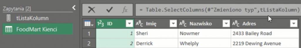 rys. nr 15 - Zapis funkcji Table.SelectColumns z odwołaniem do zapytania z listą