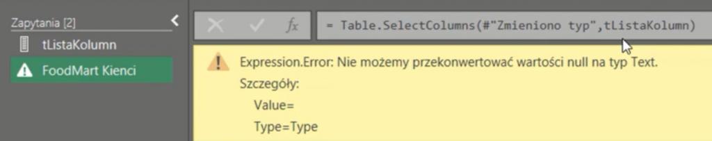 rys. nr 16 - Błąd funkcji wynikający z wartości null na liście