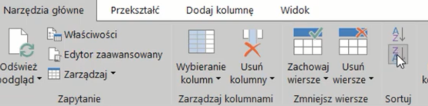 rys. nr 18 - sortowanie danych od Z do A