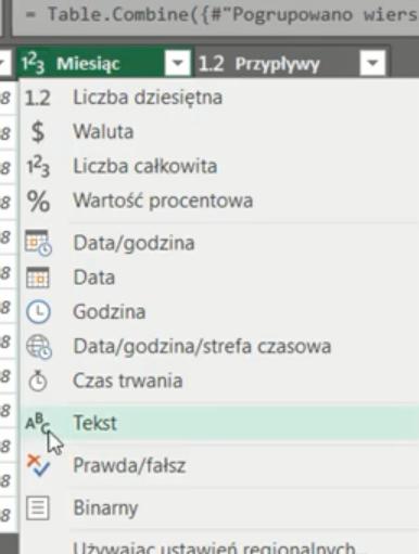 rys. nr 22 - zmiana typu danych na tekst