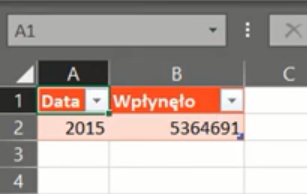 rys. nr 23 - dane załadowane do Excela