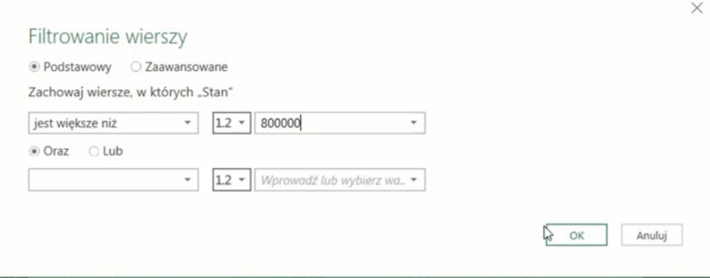 rys. nr 37 - okno Filtrowania wierszy - parametry filtrowania