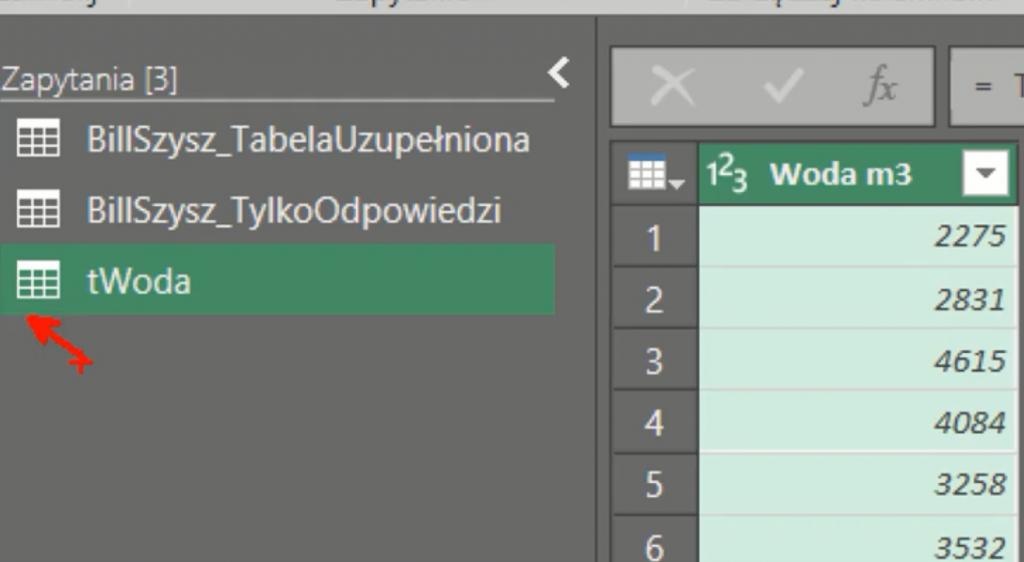 rys. nr 7 - dane w formie tabeli