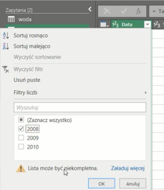 rys. nr 9 - filtrowanie danych w kolumnie Data