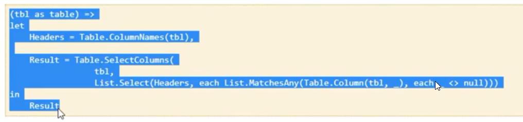 Rys. nr 1 – kod funkcji do usuwania pustych kolumn