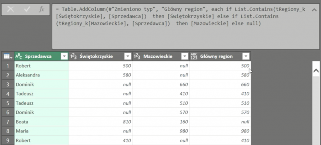Rys. nr 12 – dane po użyciu w zapisie formuły funkcji List.Contains