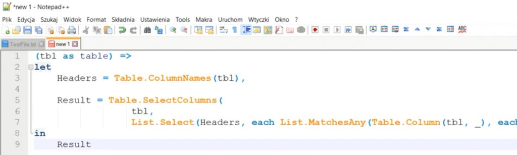 Rys. nr 2 – formuła funkcji do usuwania pustych kolumn w Notepadzie ++