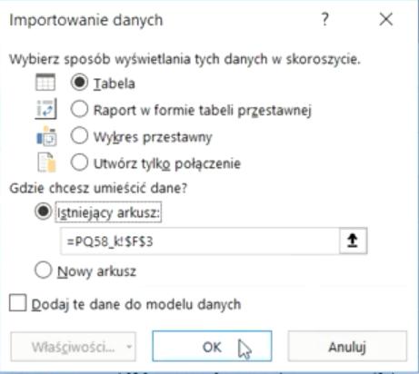 Rys. nr 26 – parametry importowania danych do Excela