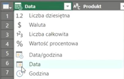 Rys. nr 4 – zmiana typu danych na Datę