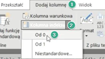 Rys. nr 6 – ścieżka dostępu do polecenia Od 0 (kolumna indeksu)