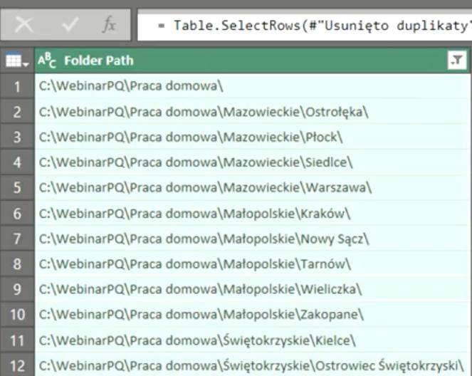 Rys. nr 10 – lista ścieżek dostępu do pod folderów katalogu WebinarPQ