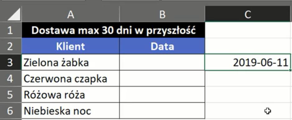 Rys. nr 2 – wartość zwrócona przez funkcję DZIŚ