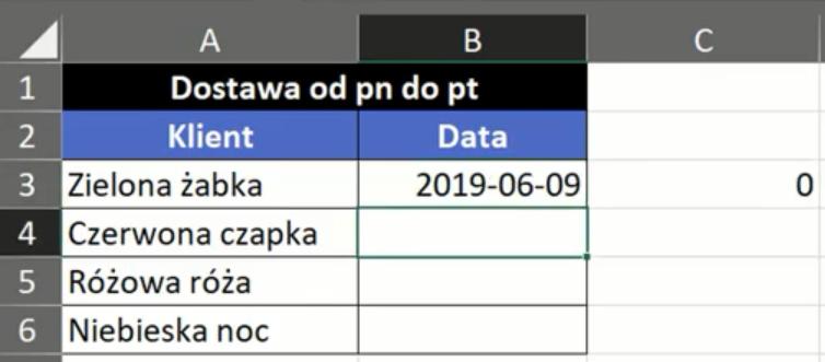 Rys. nr 2 –wartość 0 zwrócona przez funkcję DNI.ROBOCZE dla daty z weekendu