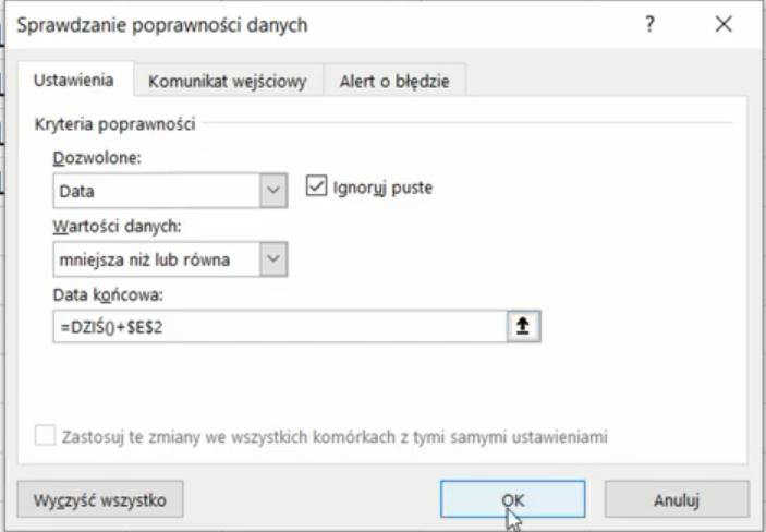 Rys. nr 5 – parametry sprawdzania poprawności danych
