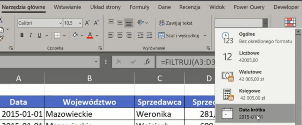 Rys. nr 6 – szybkie formatowanie danych – typ Data krótka
