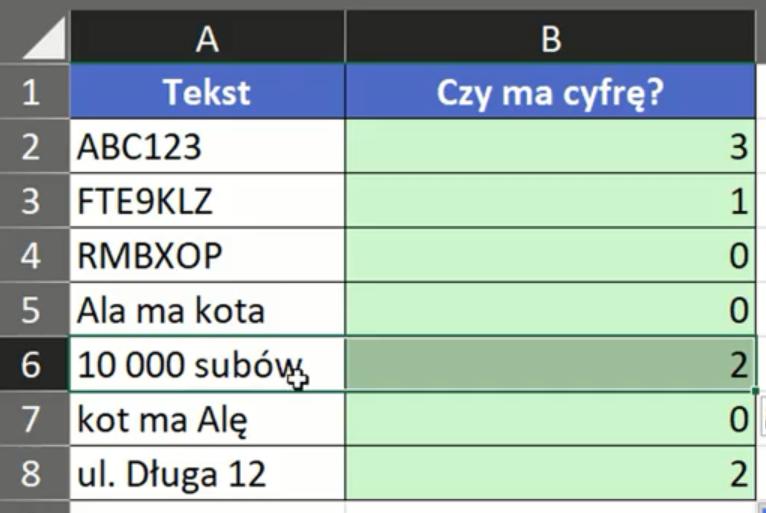 Rys. nr 8 – wyniki funkcji SUMA.ILOCZYNÓW dla całej tabeli