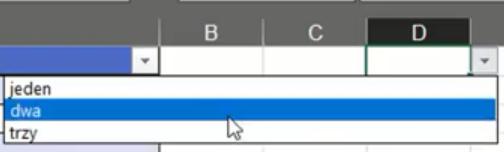Rys. nr 20 – lista rozwijana stworzona poprzez sprawdzanie poprawności danych
