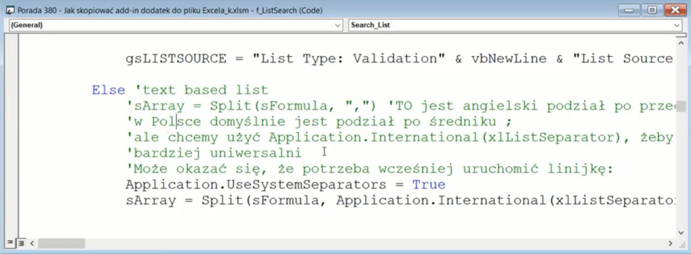 Rys. nr 28 – Zmieniony kod (teraz średnik będzie znakiem rozdzielającym elementy listy)