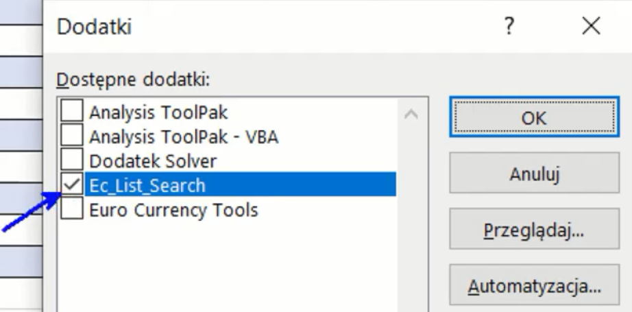 Rys. nr 8 – Nowy dodatek na liście dostępnych dodatków Excela